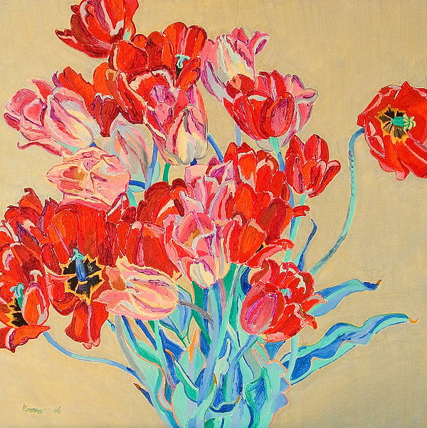 Flowers Painting - Red Tulips With Gold Background by Vitali Komarov