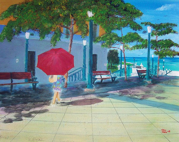 Landscapes Painting - Red Umbrella In San Juan by Tony Rodriguez