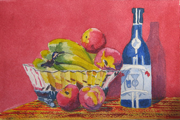 Fruit Painting - Red Wall Blue Wine by Libby  Cagle