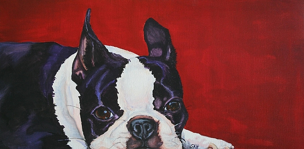 Boston Terrier Painting - Red White And Black by Susan Herber