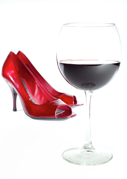 Red Wine Photograph - Red Wine Glass Red Shoes by Dustin K Ryan