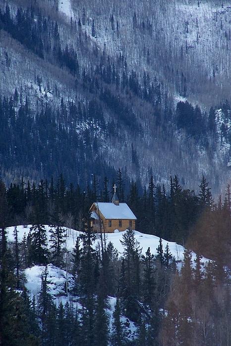 Landscape Photograph - Redcloud Chapel In Blue by David Ackerson