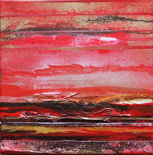 Redesdale Rhythms And  Textures Series  Red And Gold 3 Mixed Media by Mike   Bell