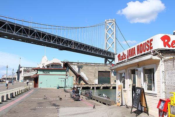 San Francisco Photograph - Reds Java House And The Bay Bridge At San Francisco Embarcadero . 7d7712 by Wingsdomain Art and Photography