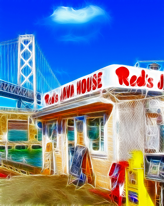 San Francisco Photograph - Reds Java House Electrified by Wingsdomain Art and Photography