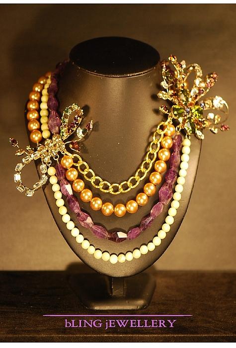 Chain Jewelry - Reduced Amethyst And Peridot Jasper Flower Festoon Necklace by Janine Antulov