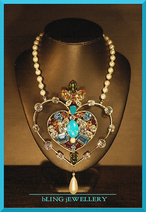 Hug Jewelry - Reduced Large Heart Multi Coloured Crystal And Pearl Necklace by Janine Antulov