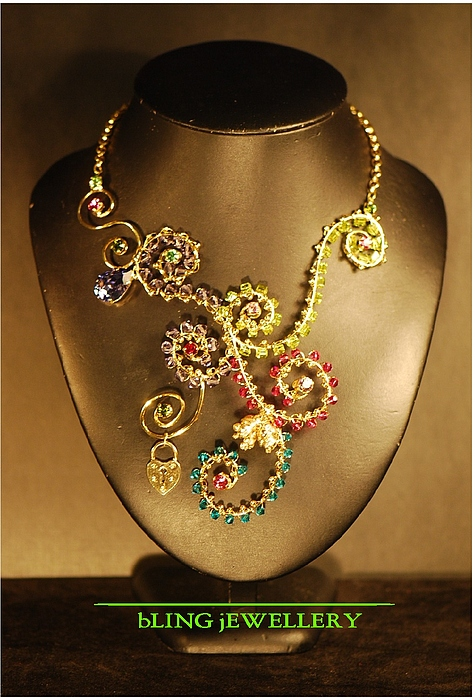 Scroll Jewelry - Reduced Wire Wrapped Crystal And Glass Bead Scroll Necklace by Janine Antulov