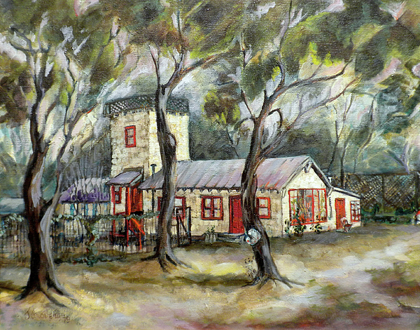 Art Lessons Painting - Redwood City Tankhouse by Jean Groberg
