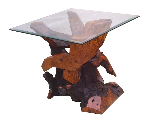 Glass Top Tables Sculpture - Redwood Glass Top Accent Table 17910 by Daryl Stokes
