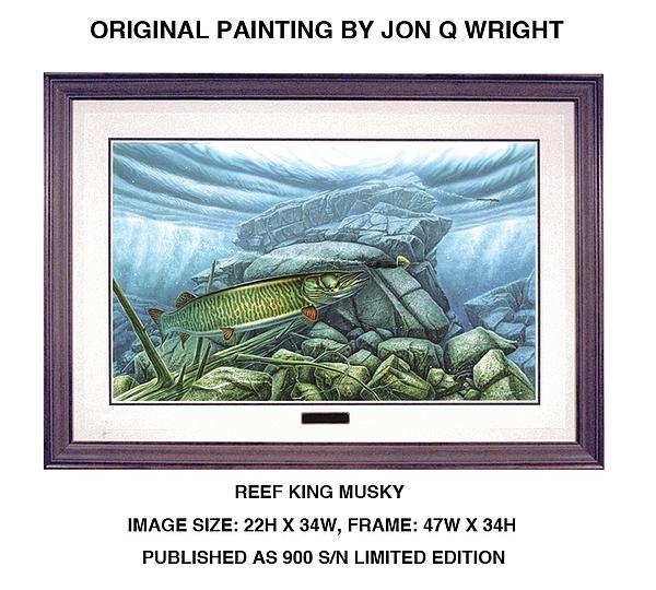 Jon Q Wright Painting - Reef King Musky by Jon Q Wright