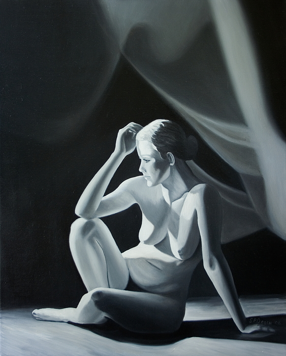 Figure Painting - Reflection In Gray by Stephen Degan