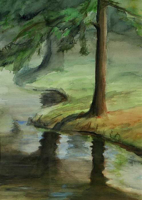 Trees Painting - Reflection by Lori McCray