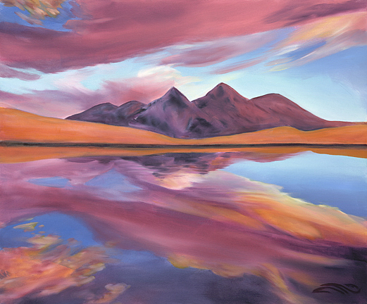 Vibrant Landscape Painting - Reflection by Sandi Snead