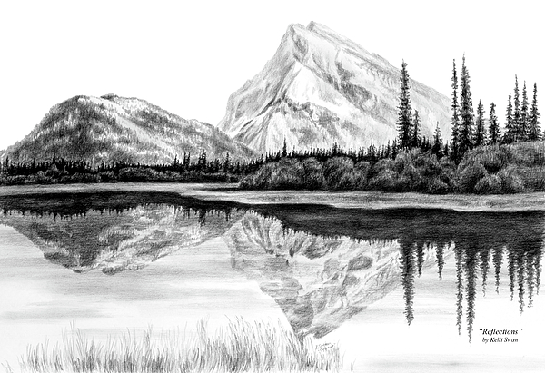 Reflections mountain landscape print drawing by kelli swan for How to draw nature drawing