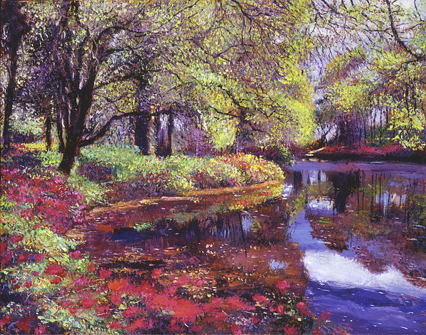 Landscape Painting - Reflections Of Azalea Blooms by David Lloyd Glover