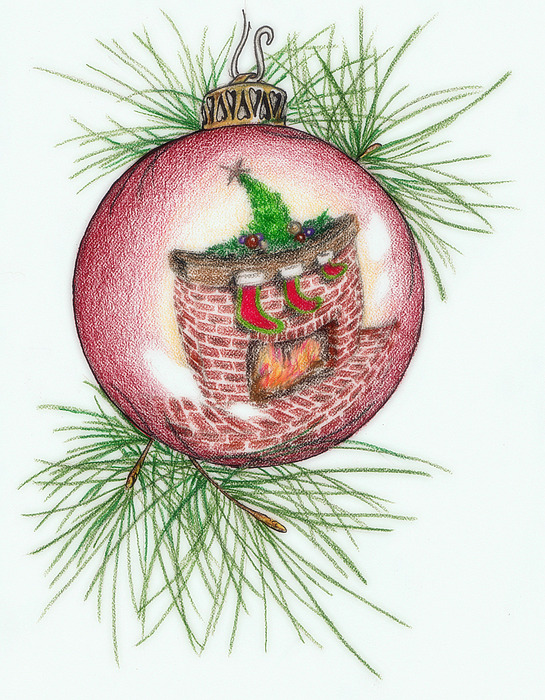 Christmas Drawing - Reflections Of Christmas by Theresa Higby