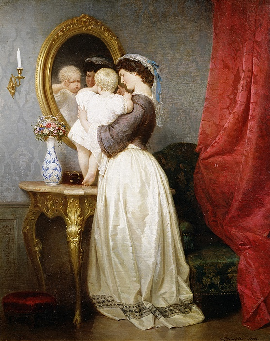 Reflections Painting - Reflections Of Maternal Love by Robert Julius Beyschlag