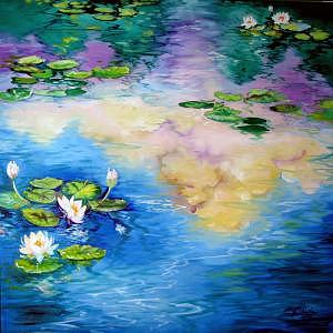 Waterlily Painting - Reflections On A Waterlily Pond by Marcia Baldwin