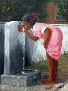 Girl Drinking Water Painting - Refreshing Water by Romeo Downer