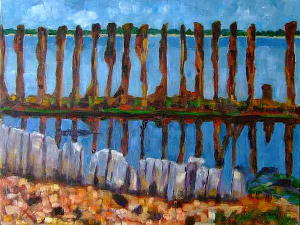 Oil Painting - Refugees by Glynis Berger
