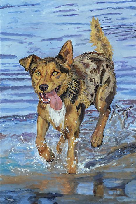 Australian Kelpie Painting - Reggie Portrait Of A Working Dog by Kellie Straw