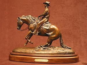 Reining Horse - The Sliding Stop Sculpture by Bob Scheelings