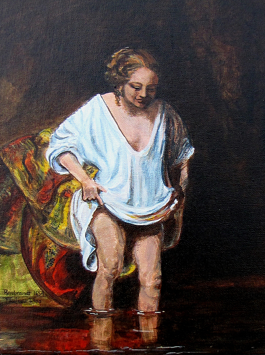 Woman Bathing Painting - Rembrandts Woman Bathing by Pauline Ross
