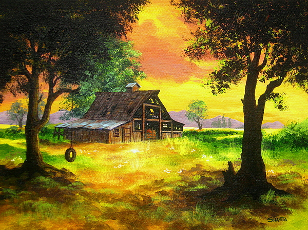 Landscape Painting - Remember  When by Shasta Eone