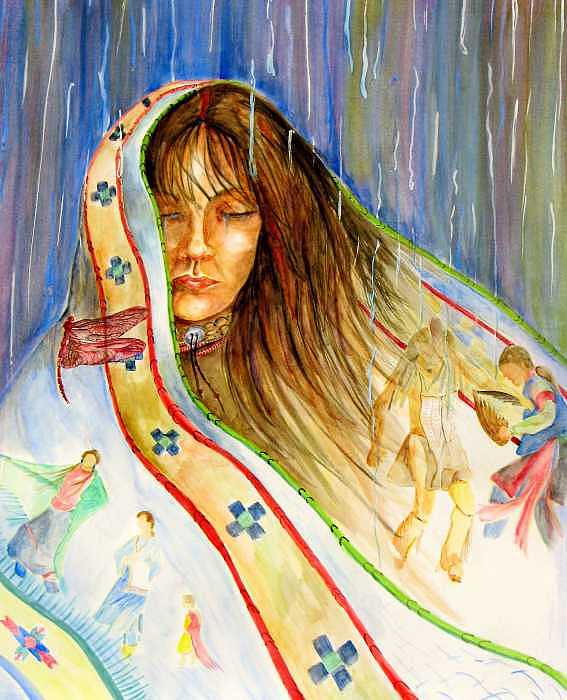 Native American Painting - Remembering by Margaret Platt