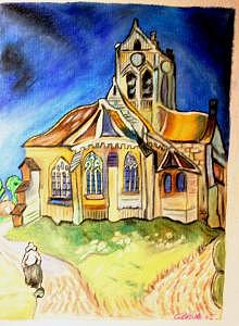 Rendering Van Gogh Church In Auvers Painting by Gina Brake
