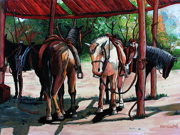 Horses Painting - Rent A Horse by Bob Crawford