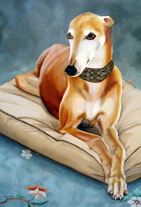 Greyhound Painting - Rescued Greyhound by Sandra Chase