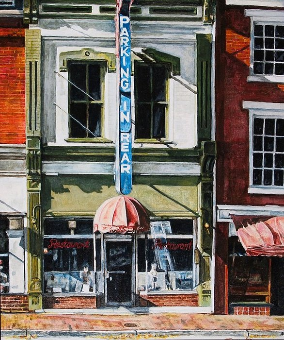 Street Scene Painting - Restaurant by Thomas Akers
