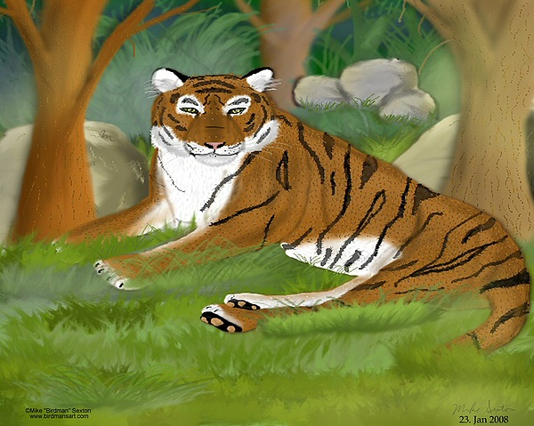 Tigers Painting - Restful Retreat by Mike Sexton
