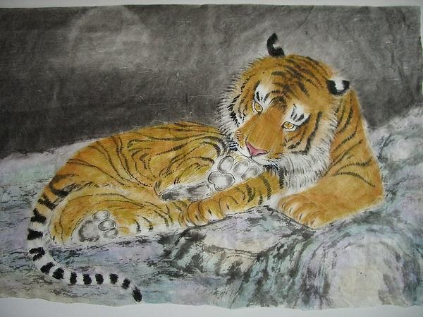 Tiger Painting - Resting by Jian Hua Li