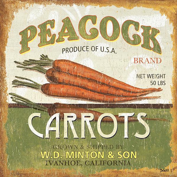 Food Painting - Retro Veggie Label 2 by Debbie DeWitt