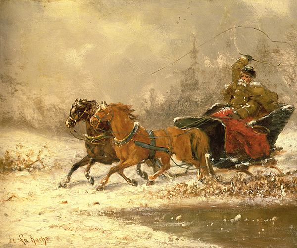 Returning Painting - Returning Home In Winter by Charles Ferdinand De La Roche