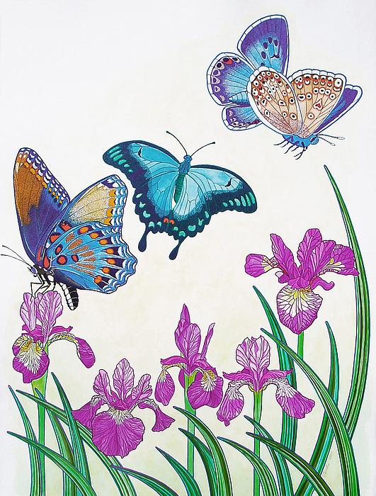 Butterflies Painting - Rhapsody In Blue by Vlasta Smola