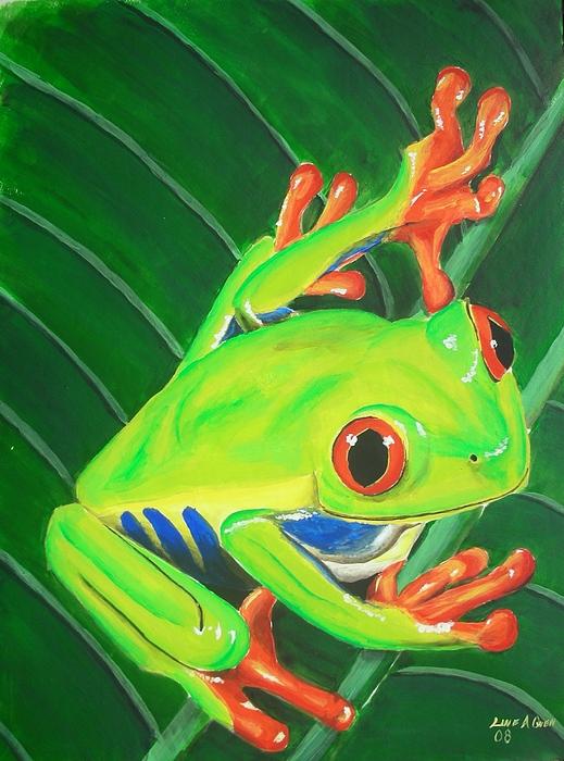 Red Eye Tree Frog Painting - Ribbit by Lane Owen