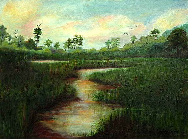 Wetlands Painting - Rice Fields Of Brookgreen Gardens by Shirley Lawing