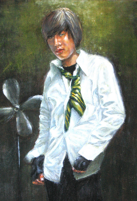 Richard With Green Necktie Painting by Menq Tsai