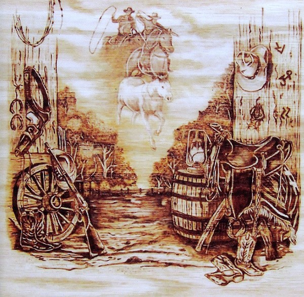 Western Pyrography - Riders In The Sky by Danette Smith
