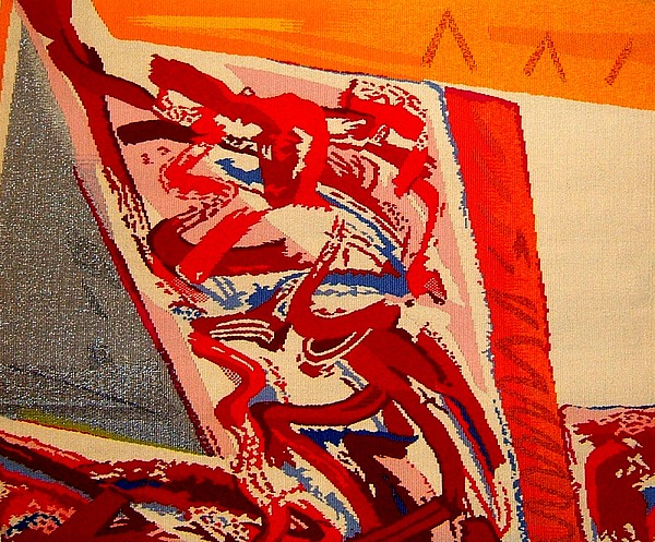 Abstract Tapestry - Textile - Riding The D Train by Dick Sauer