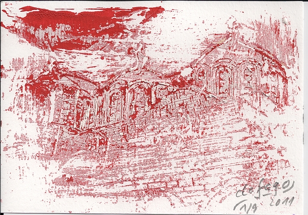 Rila Kloster Painting - Rila Monastery Red by De Fago