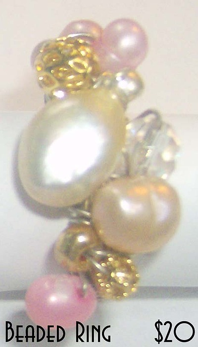 Jewelry Jewelry - Ring With Freshwater Pearls Crystal And Gold by Michelle Lake