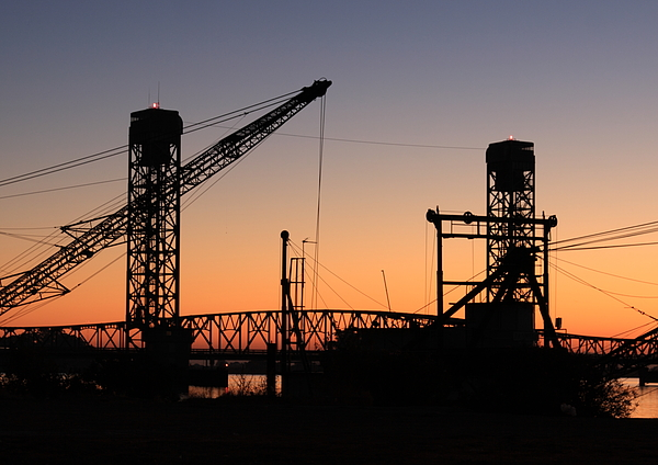 Barge Photograph - Rio Vista Bridge And Barges by Troy Montemayor