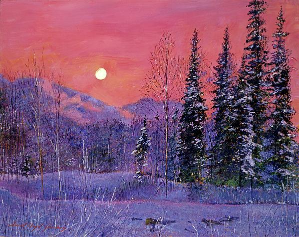Impressionism Painting - Rising Snow Moon by David Lloyd Glover
