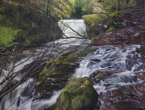 Landscape Painting - River At Talybont On Usk In The Brecon Beacons by Harry Robertson