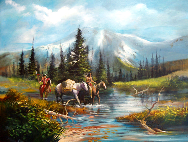 Western Landscape Painting - River Crossing by Robert Carver